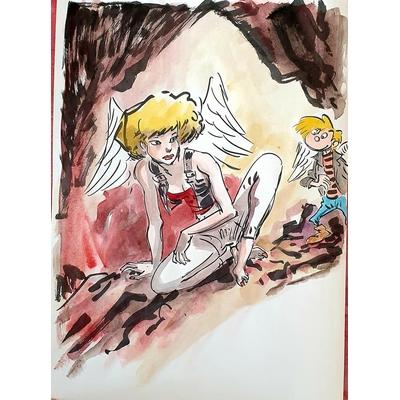 Hardy Marc - illustration originale ( dédicace en couleur) -Ange et diablesses T.1
