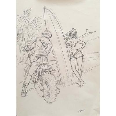 Papazoglakis Christian - illustration originale - Wheels and waves