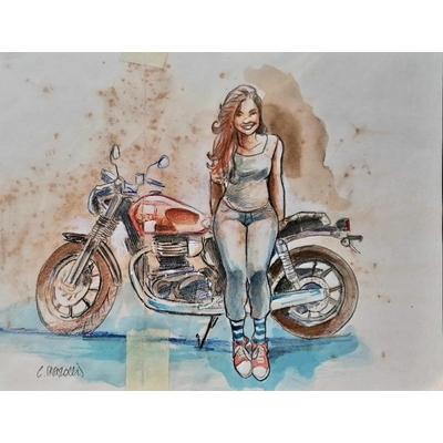 Christian Papazoglakis - illustration originale en couleurs - Speed punk