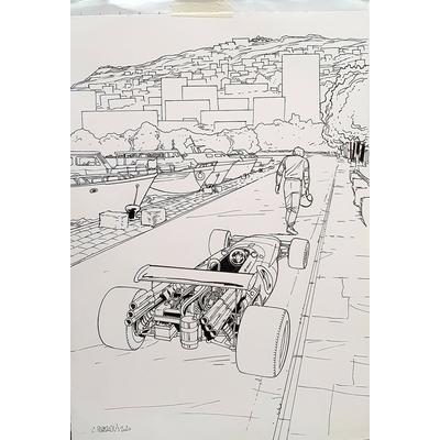 Papazoglakis Christian - illustration originale 1 + crayonné - Derrière la visière
