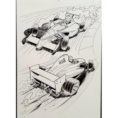 Papazoglakis Christian - illustration originale 3 + crayonné - Derrière la visière