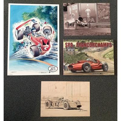 Papazoglakis Christian - Carnet collector Spa-Francorchamps avec 3 ex-libris dont un inédit signé