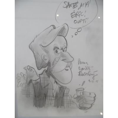 """Walthéry - dessin original """"Le vieux bleu"""""""
