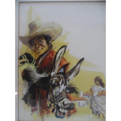 Dany - illustration originale - la danseuse et l'âne