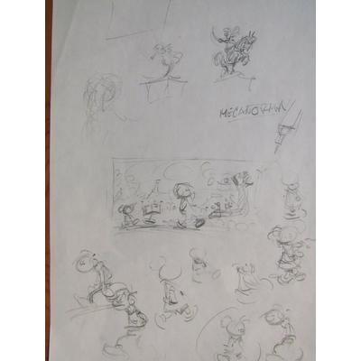 Franquin André - croquis originaux Gaston et le petit Noël et l'Elaoin, etc..