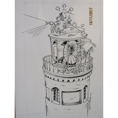 Olis - Couverture originale Spirou - Garage Isidore