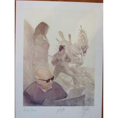 Delaby Philippe -  Litho hommage à Henri Vernes - signé