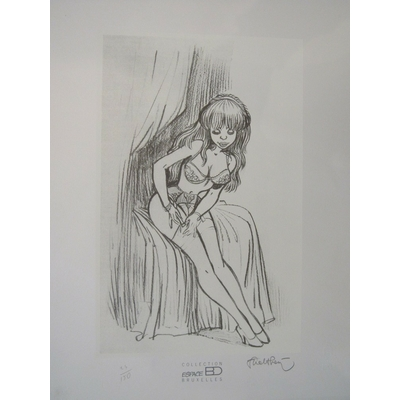 Walthéry - Lithographie Pin-up - Espace BD - signée