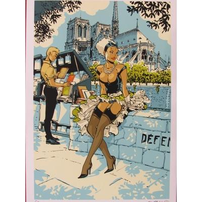 Meynet - ex-libris sérigraphie -  hommage à Paris signé