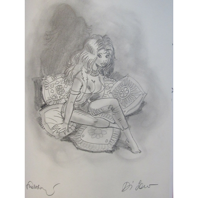 Walthéry , Di Sano - Illustration originale + planche + Sérigraphie - Au malheur des dames - TT (2003)