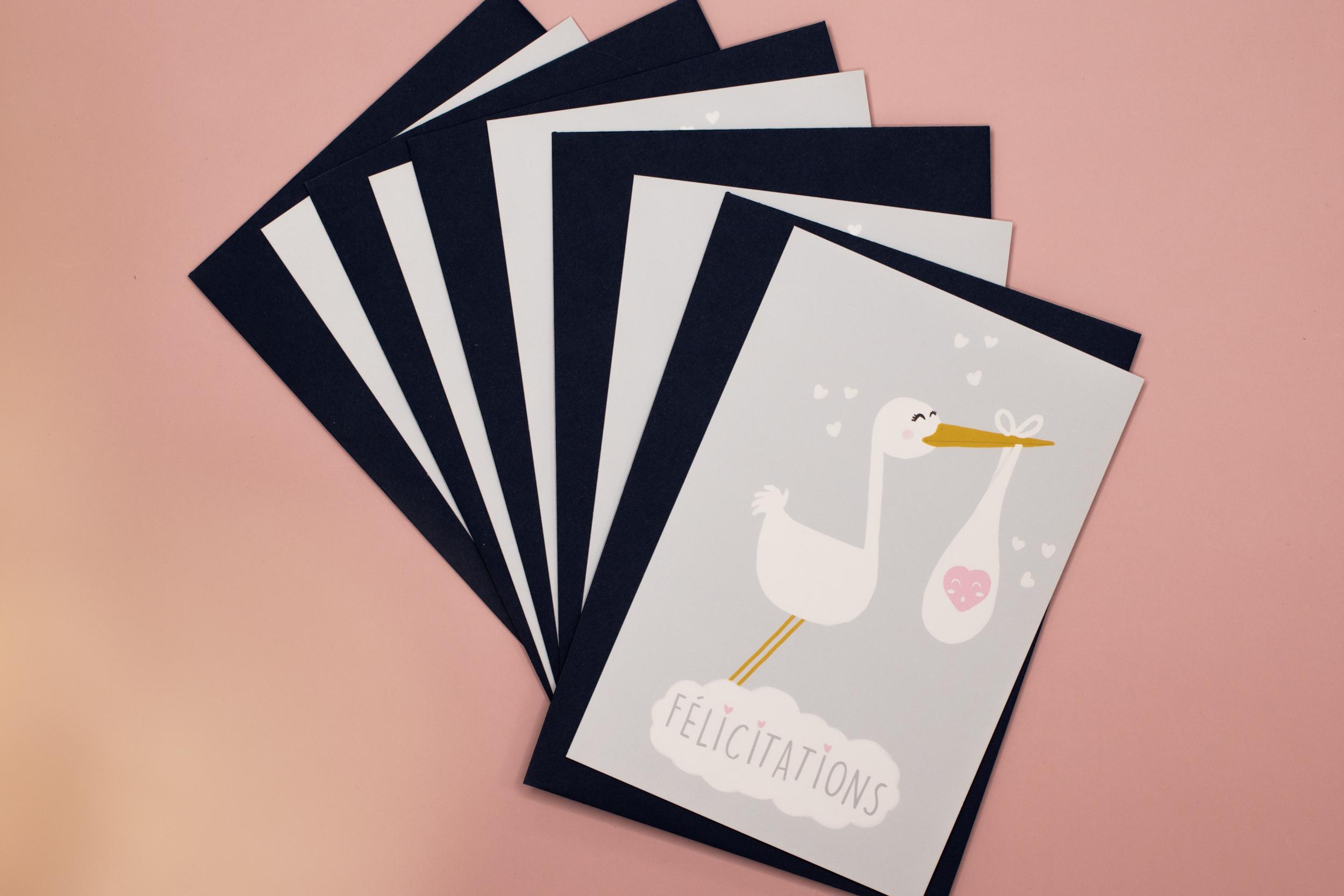 Cartes & enveloppes Félicitation par 5 - Naissance | Cigogne