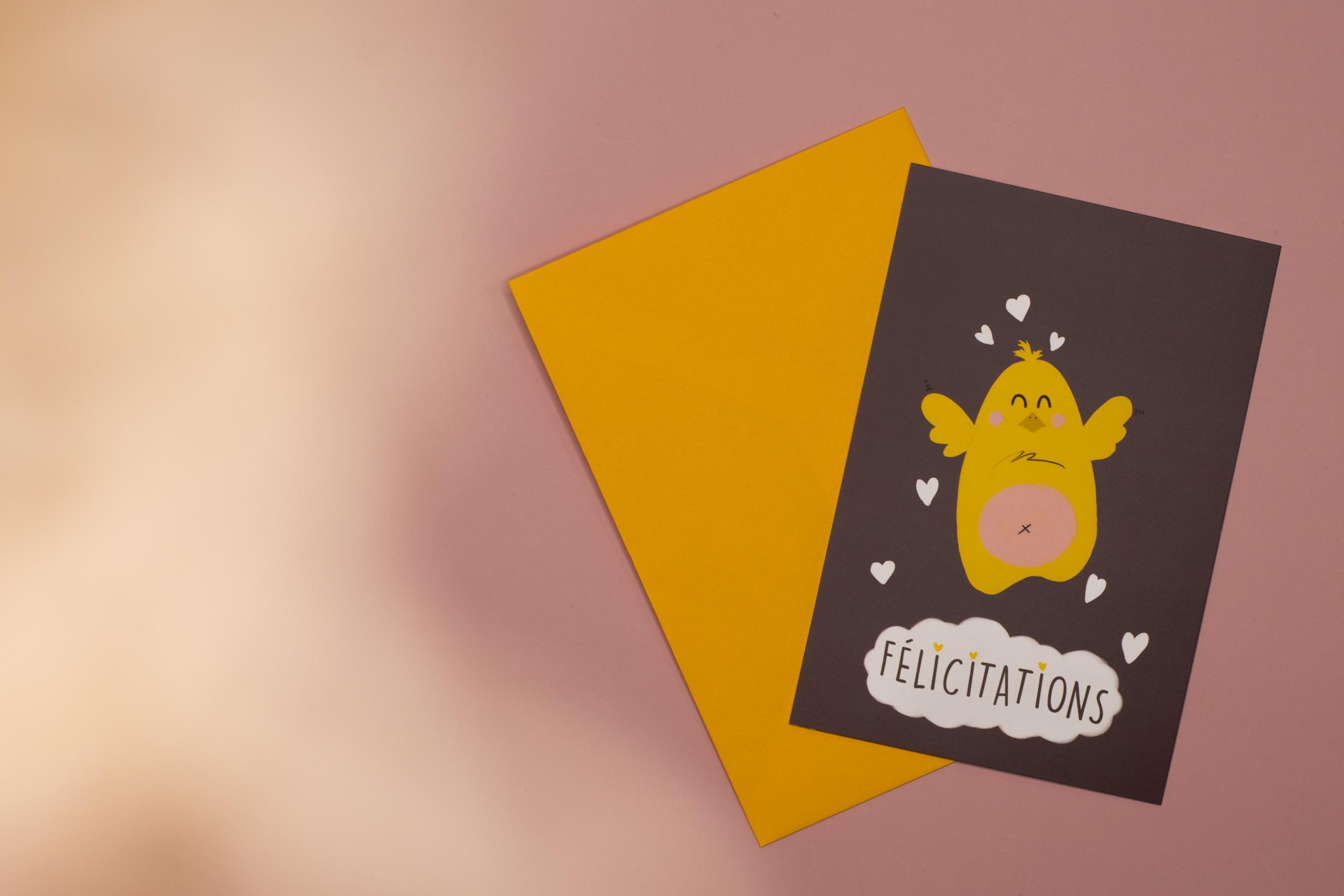 Carte & enveloppe Félicitation - Naissance | Poussin