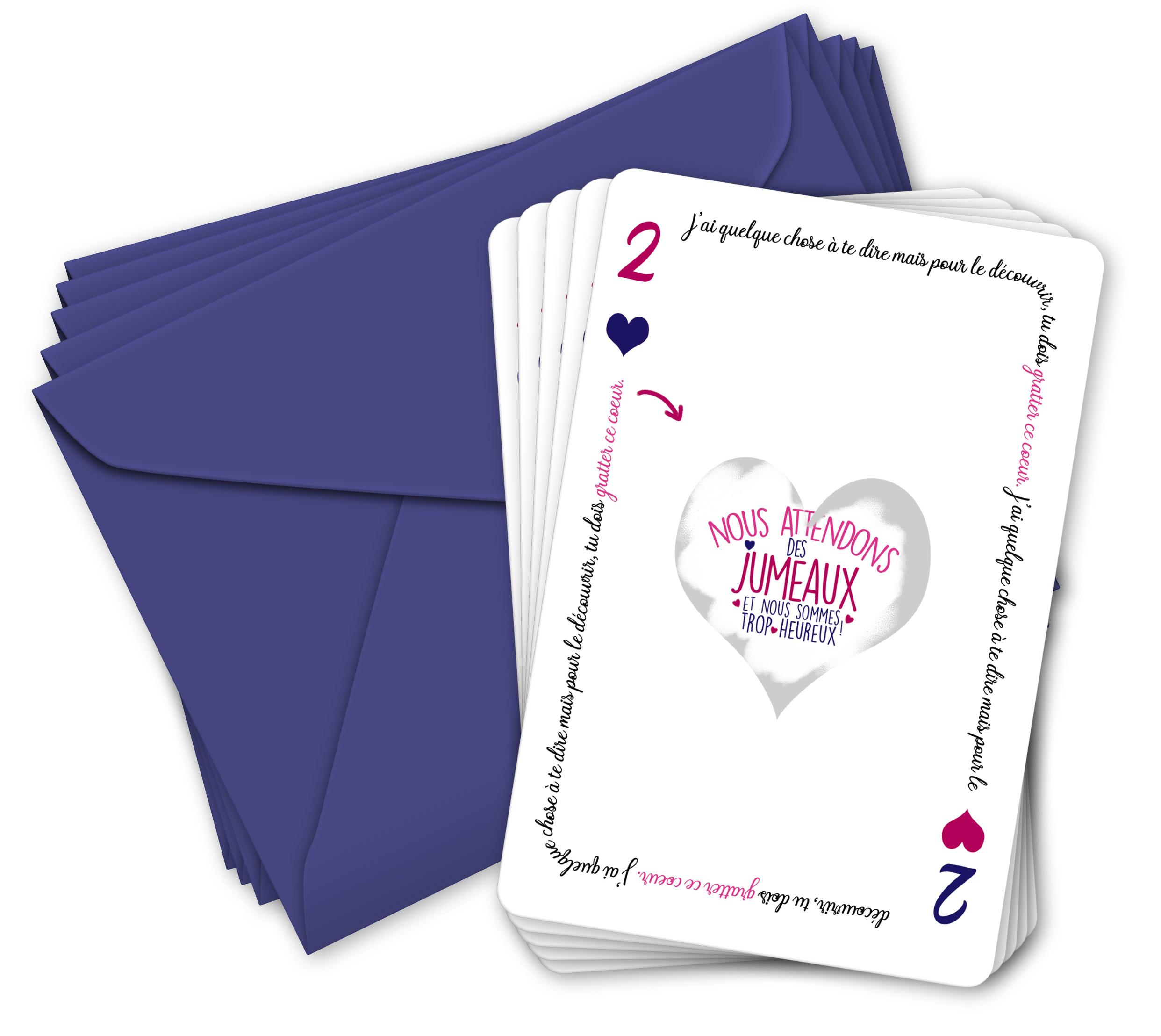 5 cartes à gratter | annonce grossesse Jumeaux