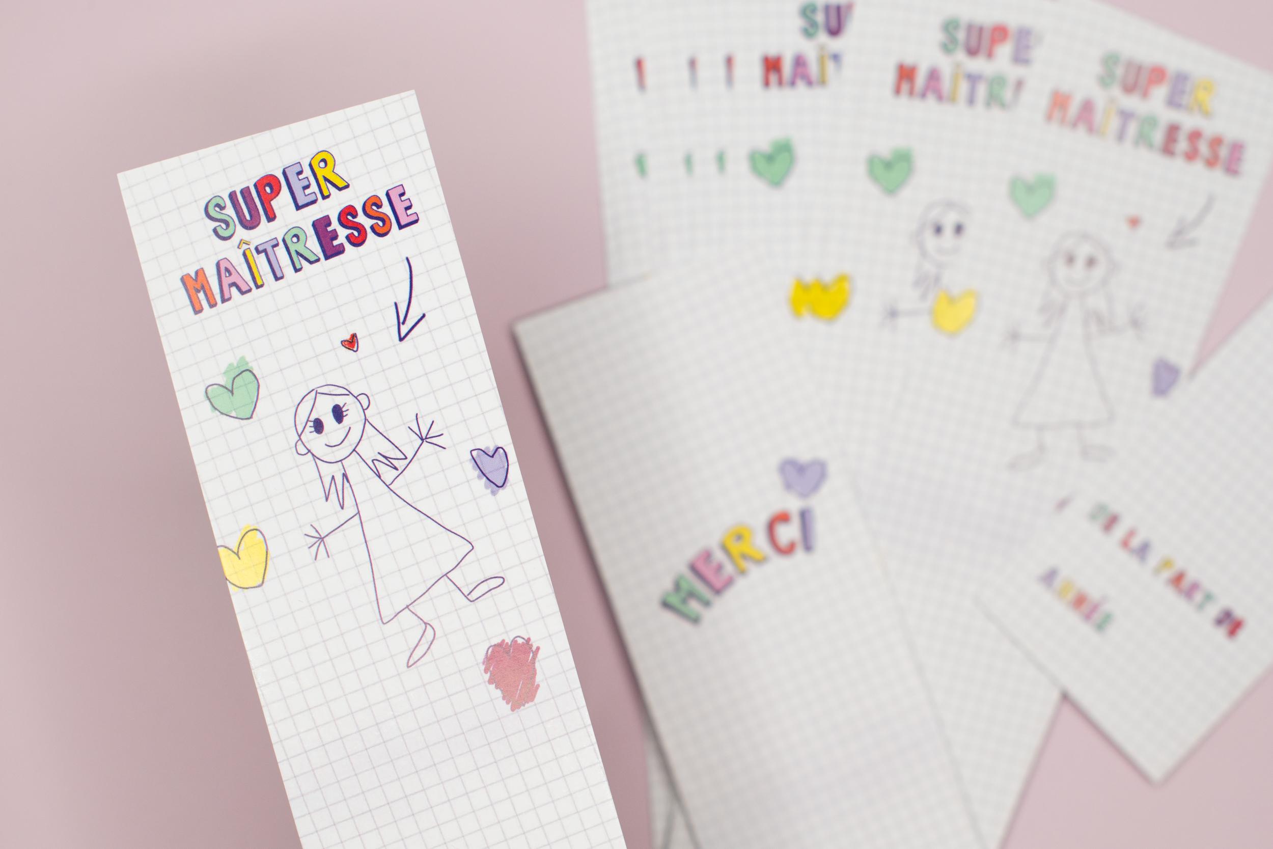 Marque page Super Maîtresse   Version coeurs
