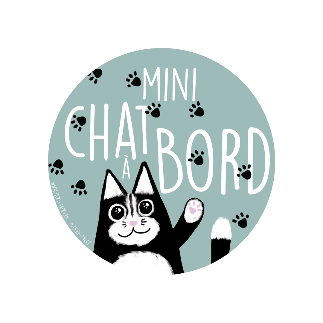 Stickers voiture – Mini Chat à bord