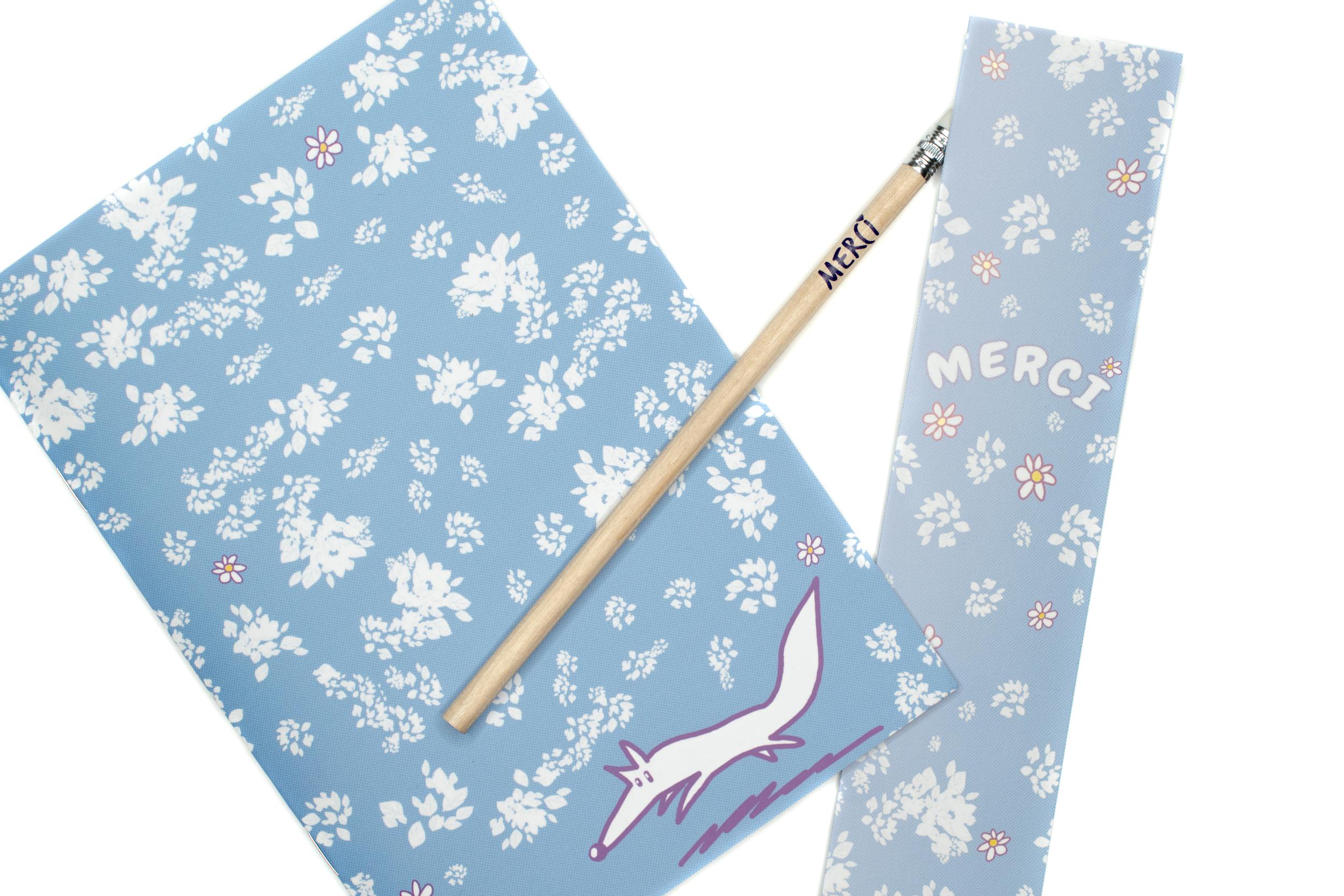 Kit Merci Fleurs | cahier, crayon et marque-page