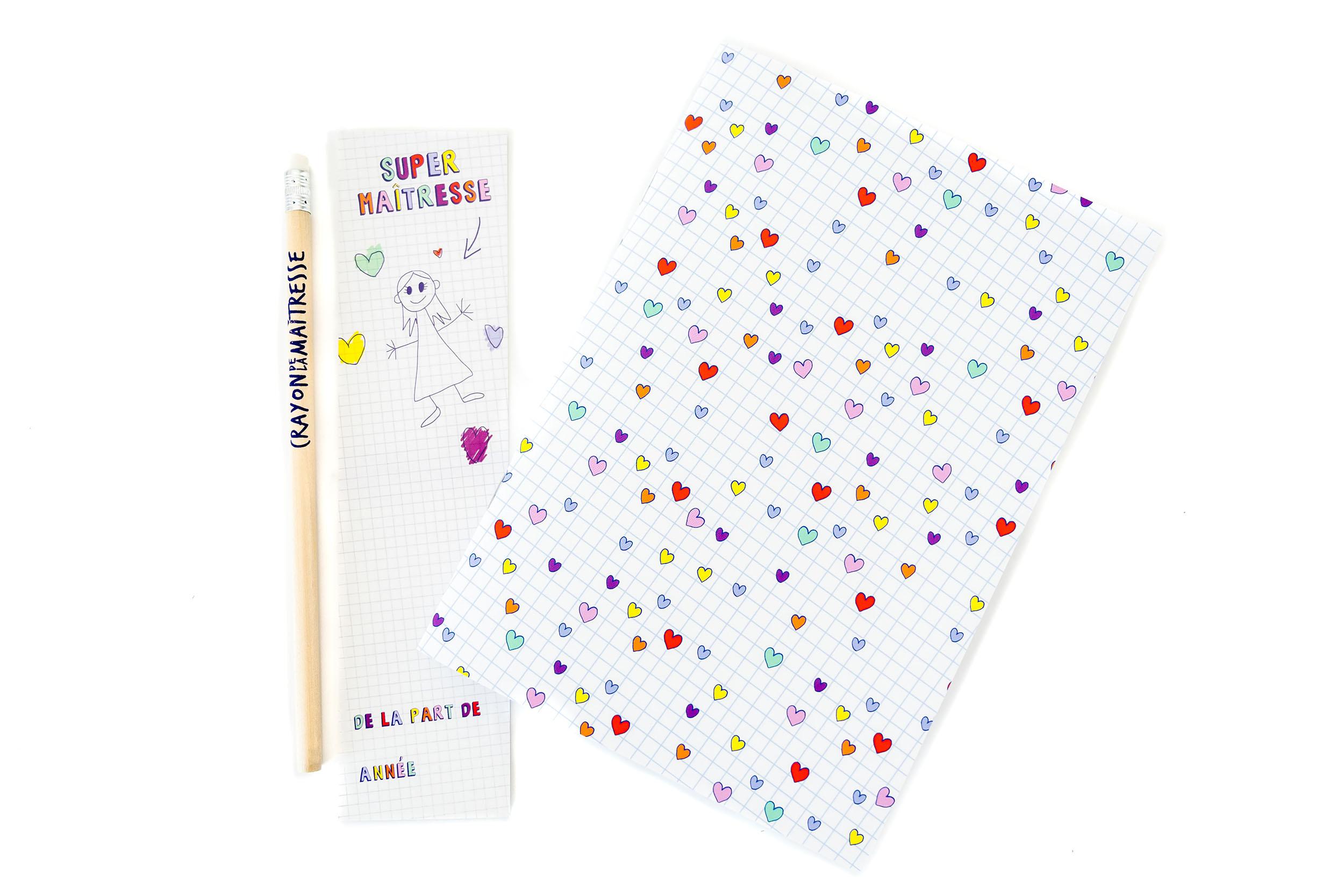 Kit Maîtresse | cahier, crayon et marque-page Super-Maîtresse