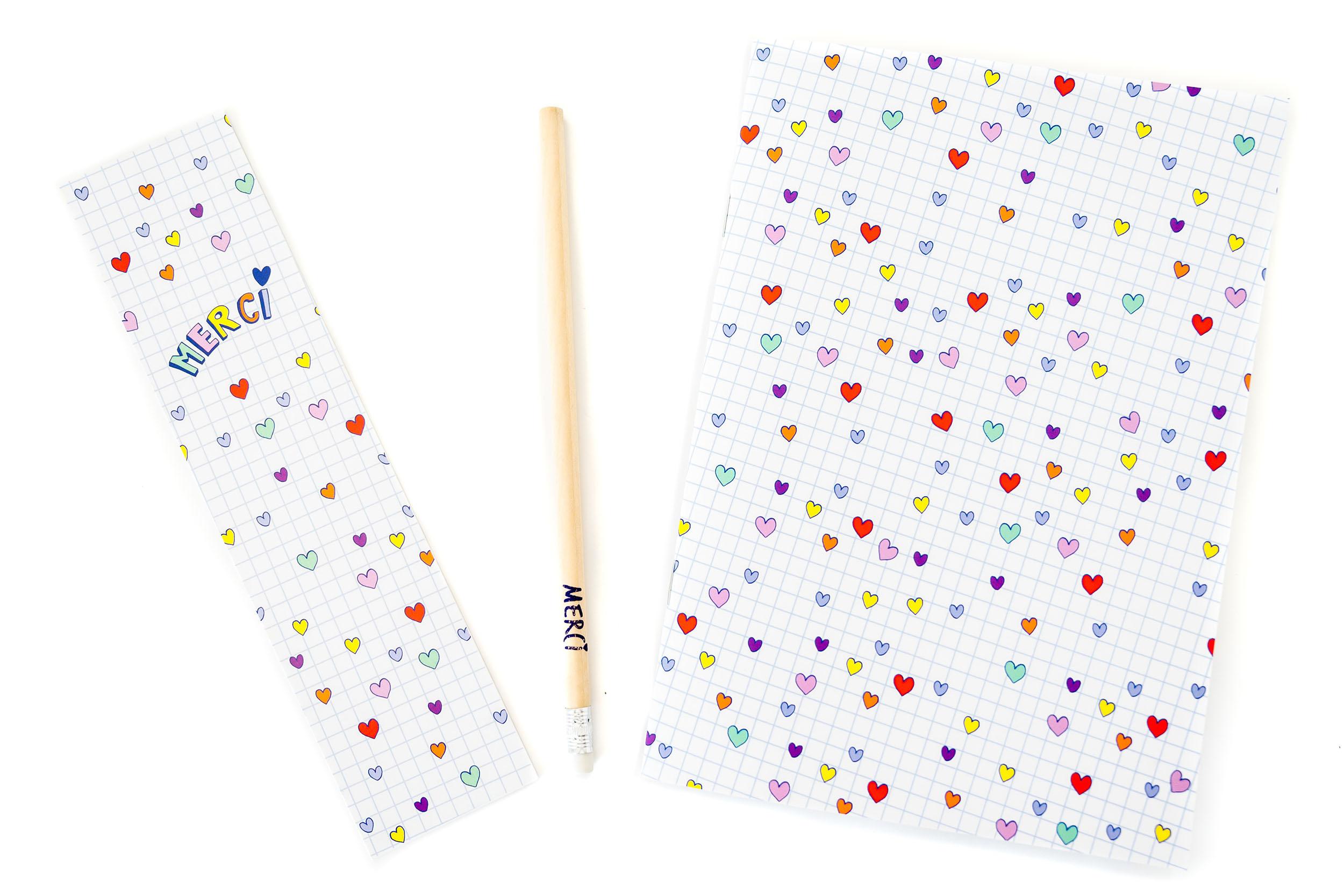 Kit Merci Coeurs | cahier, crayon et marque-page