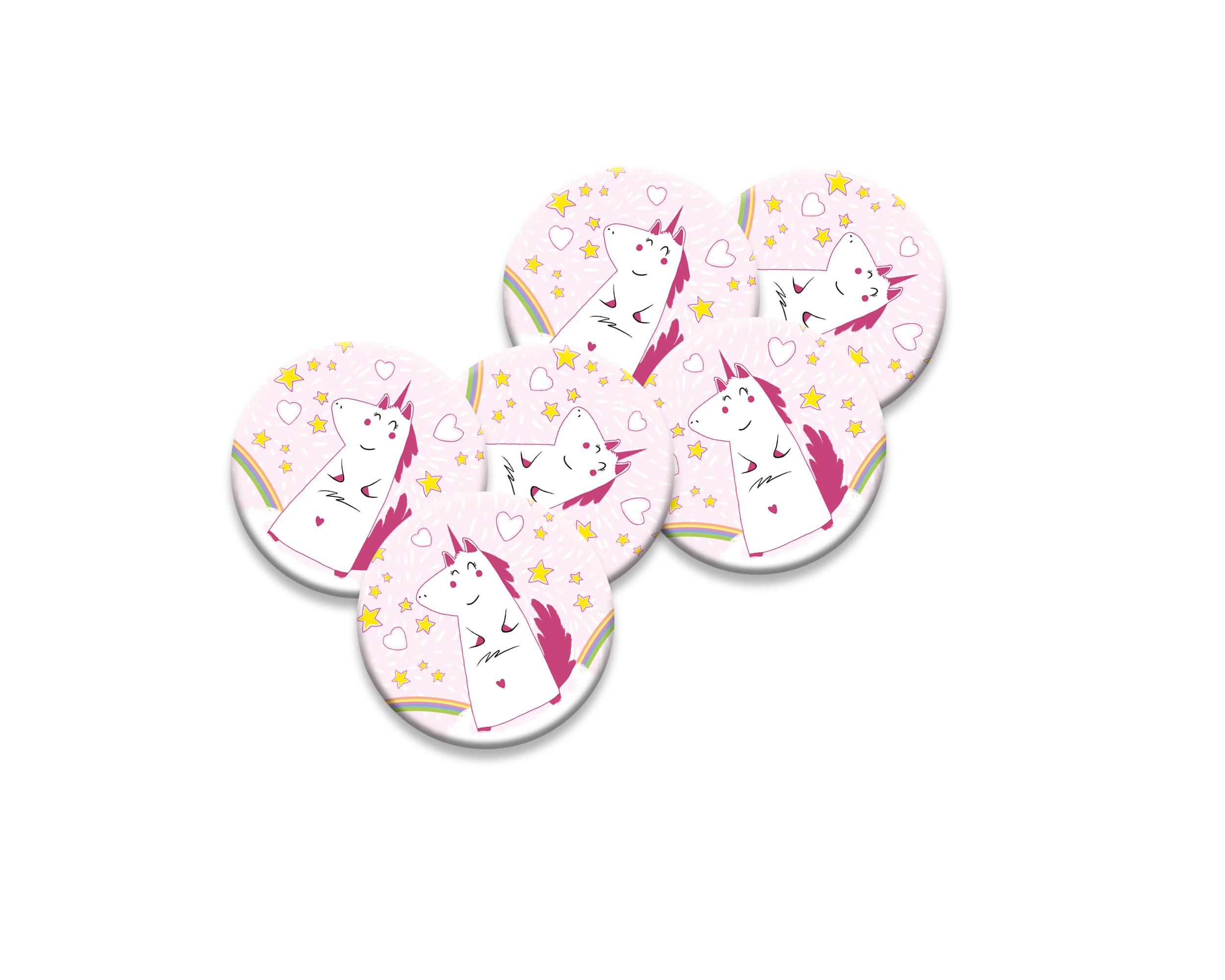 6 badges pour enfants | Anniversaire thème Licorne