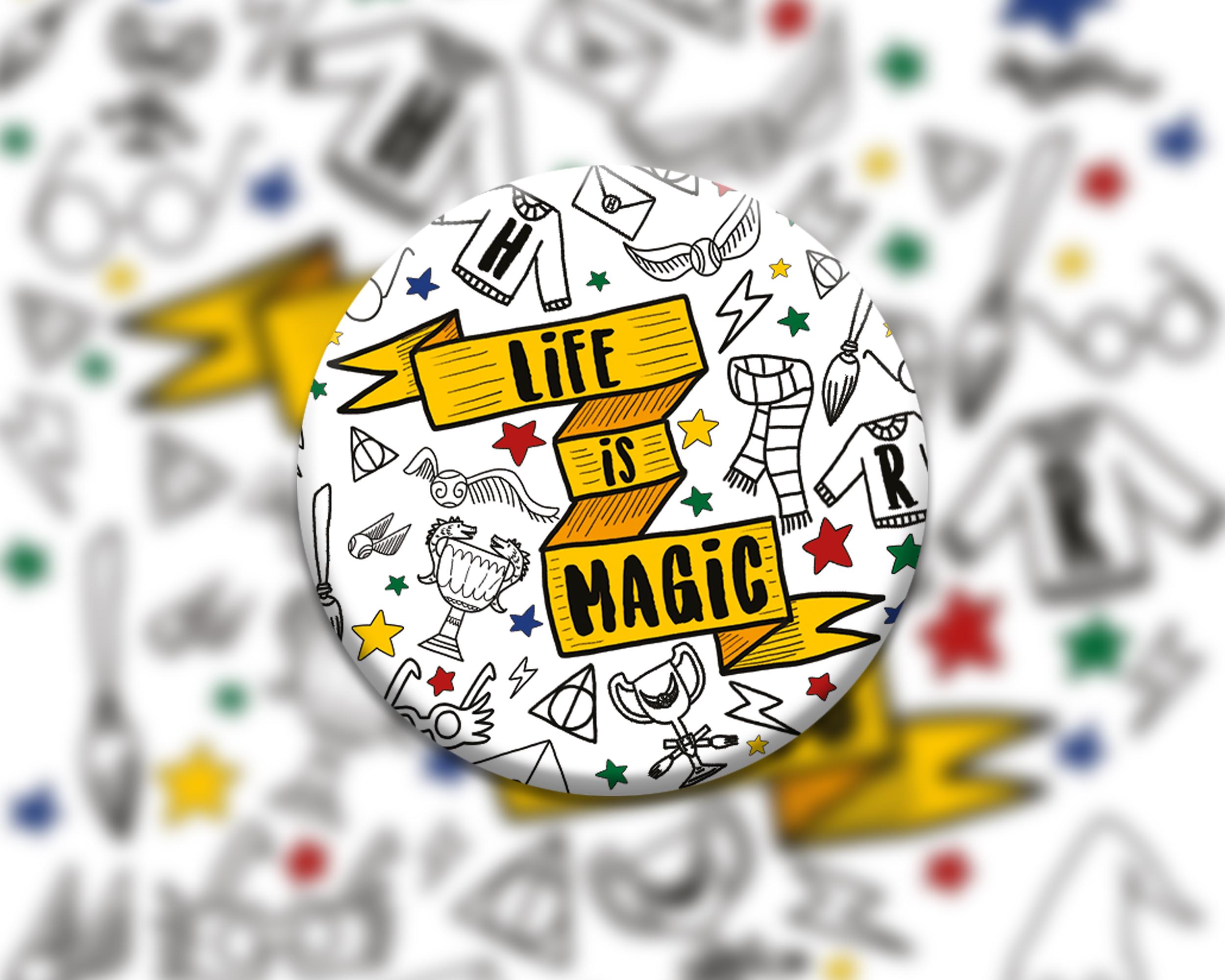 6 badges pour enfants | Anniversaire thème Harry Potter