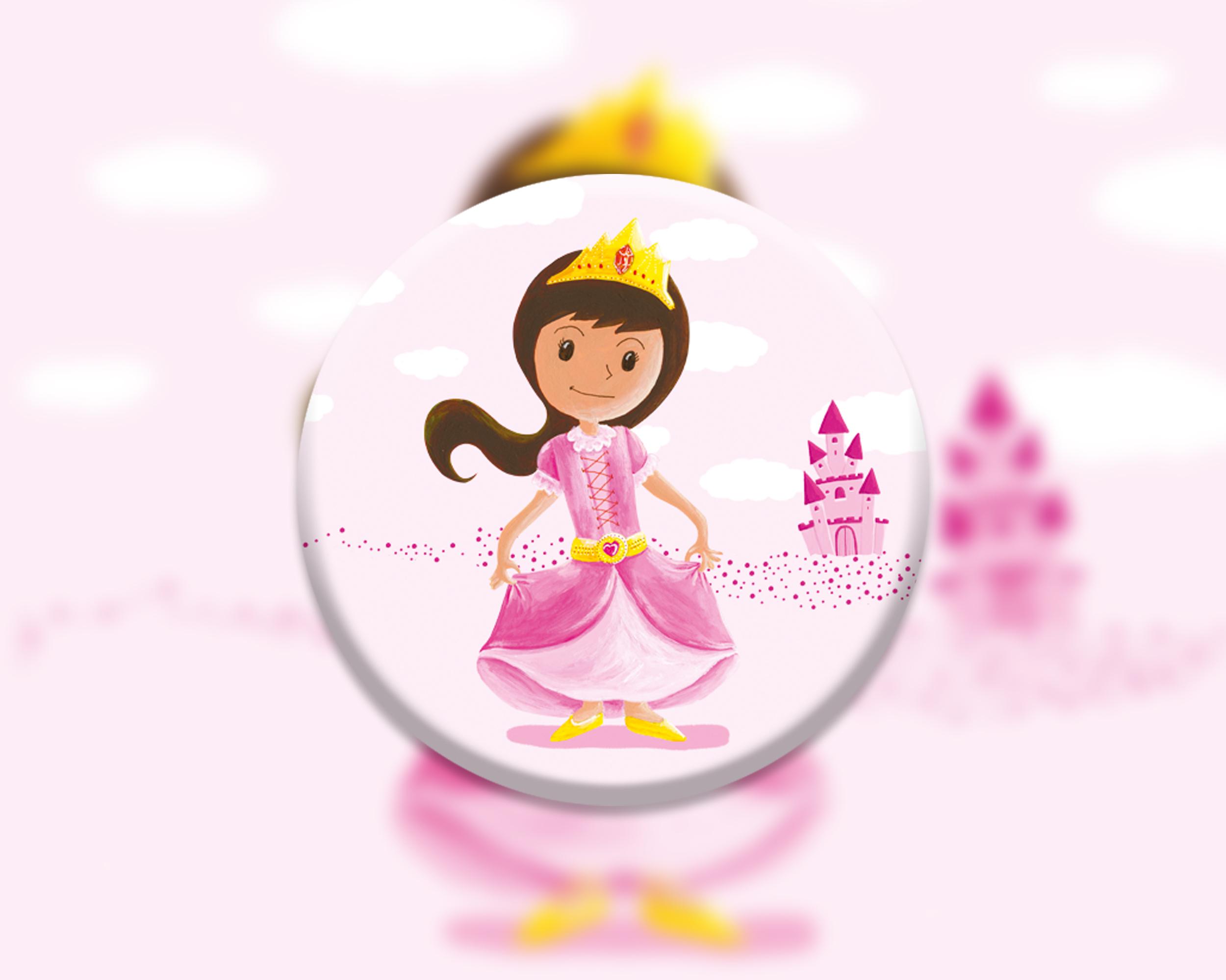 6 badges pour enfants | Anniversaire thème Princesse rose