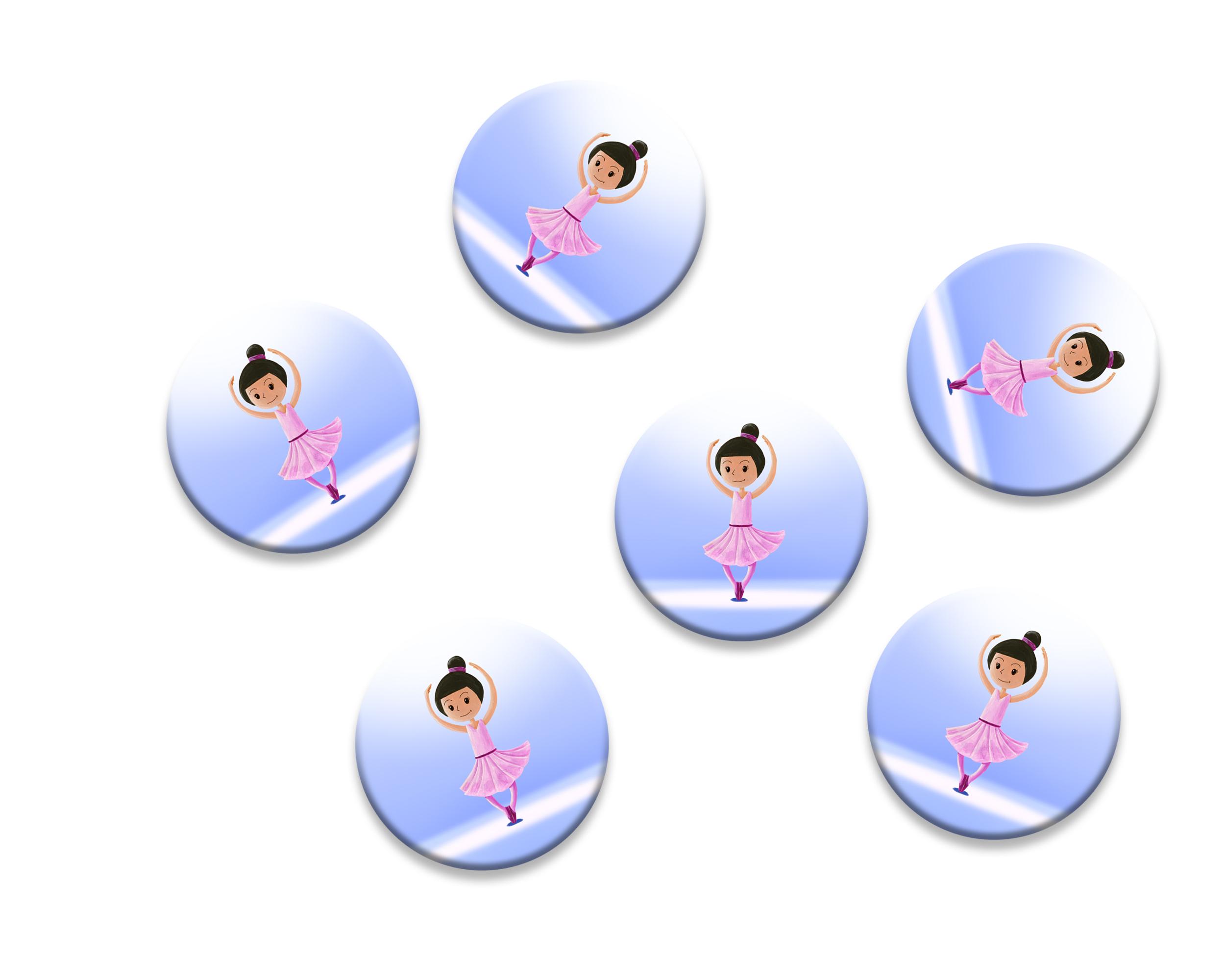 6 badges pour enfants | Anniversaire thème Danseuse