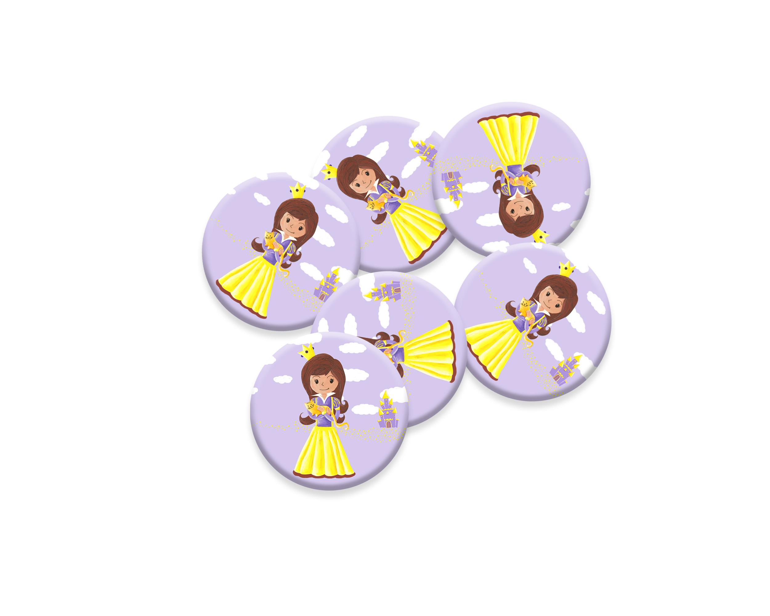 6 badges pour enfants   Anniversaire thème Princesse Mauve