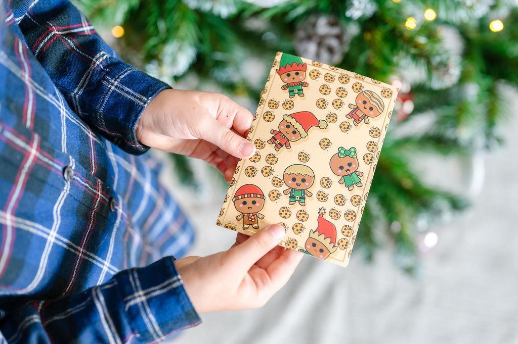 Lot de 5 cartes de vœux pour Noël | Cartes postales version Lutins & Cookies | Cartes de vœux enveloppes comprises