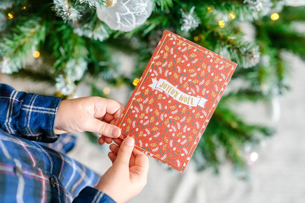 Lot de 5 cartes de vœux pour Noël | Cartes postales version Joyeux Noël  | Cartes de vœux enveloppes comprises