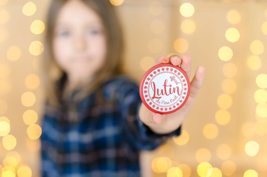 Maxi Badge de Noël | Lutin officiel du Père Noël | Petite idée cadeau de Noël