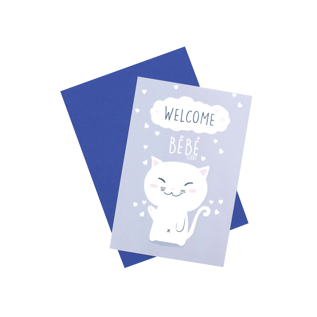 Carte & enveloppe Welcome - Chat