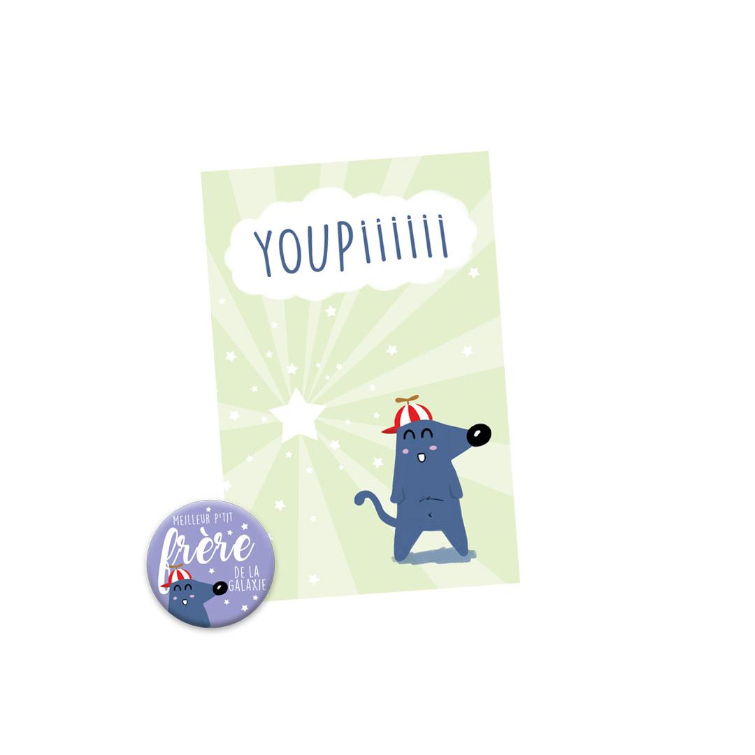 Kit Youpiii Meilleur P'tit Frère de la Galaxie - Carte et Badge