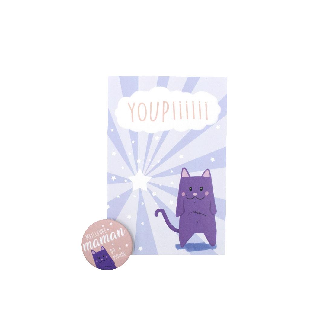 Kit Youpiii Meilleure Maman du Monde – Carte et badge