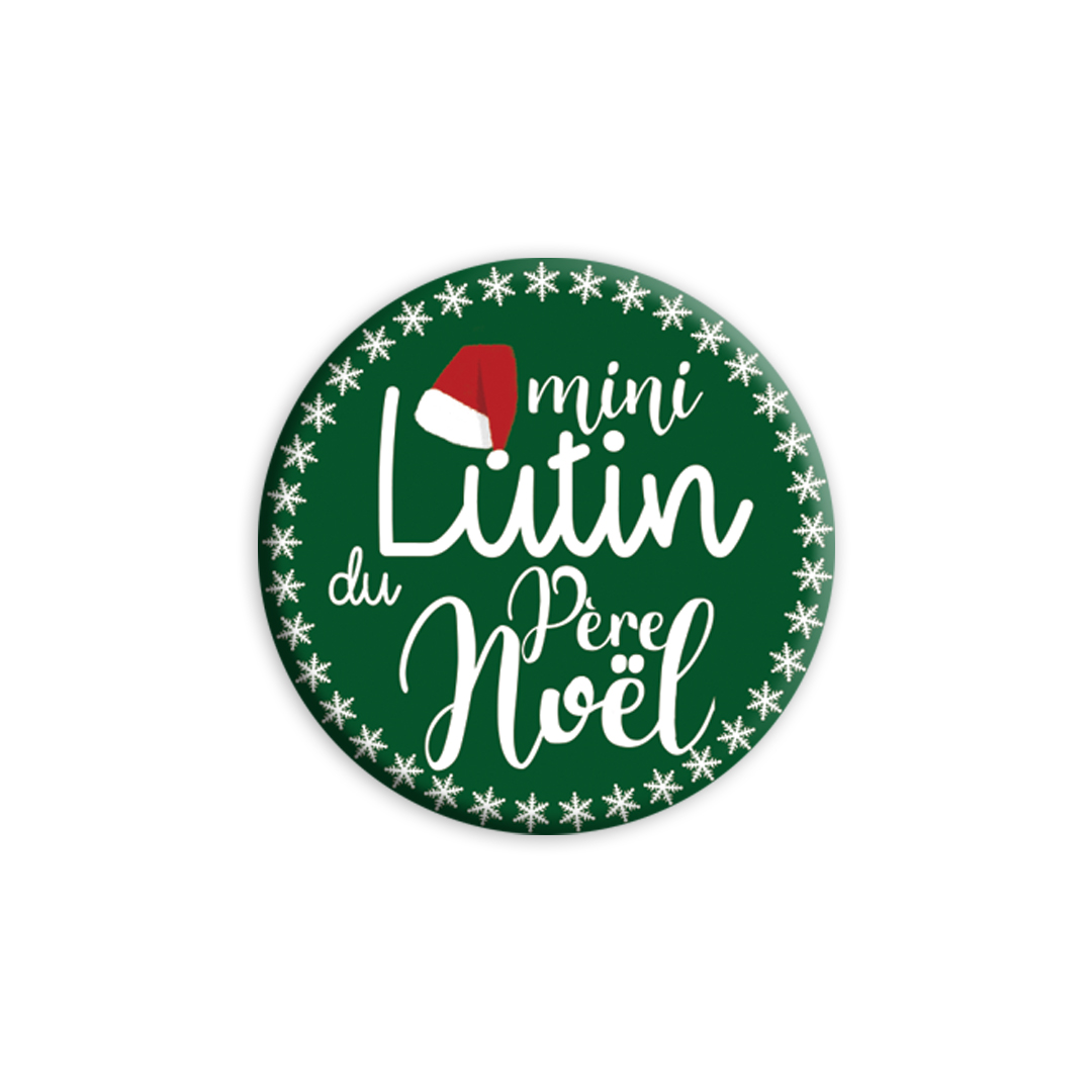 ★ Les Badges de Noël ★ Mini Lutin du Père Noël version verte