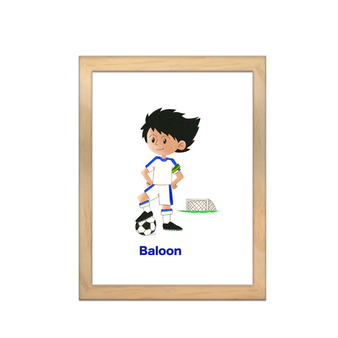 Cadre à personnaliser - Miniz & Vous - Baloon le footballeur inspiré de Olive et Tom