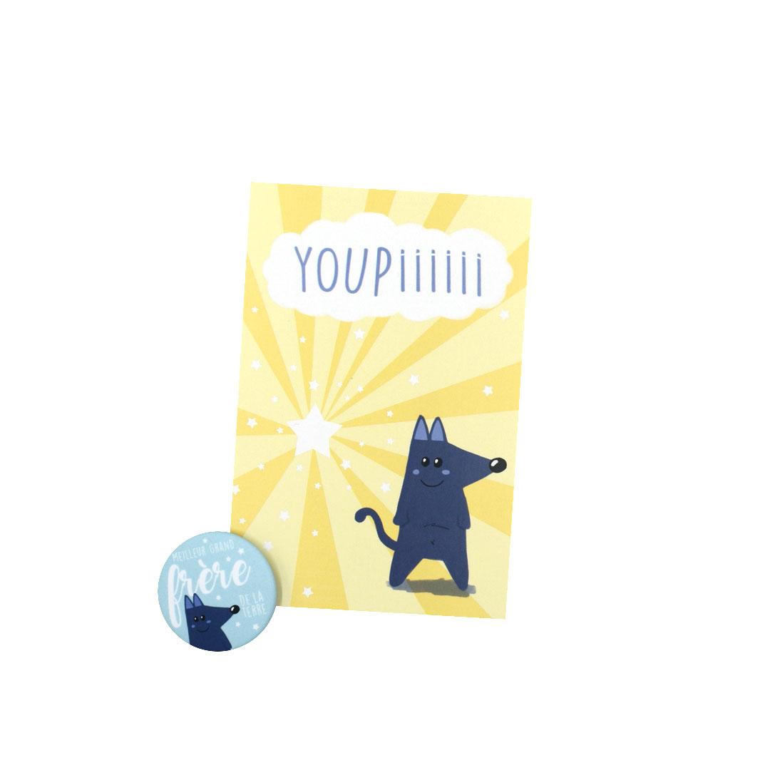 Kit Youpiii Meilleur Grand Frère de la terre – Carte et badge
