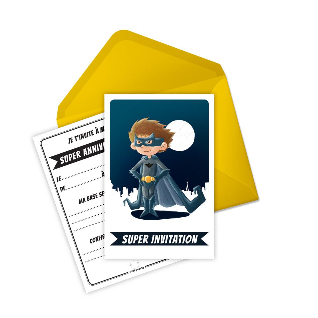 6 Miniz Invit\' et enveloppes- Invitation anniversaire Bat le Super-Héros
