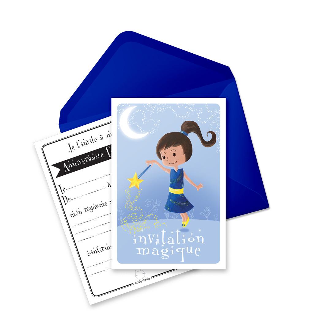 6 Miniz Invit\' et enveloppes - Invitation anniversaire Blue La fée