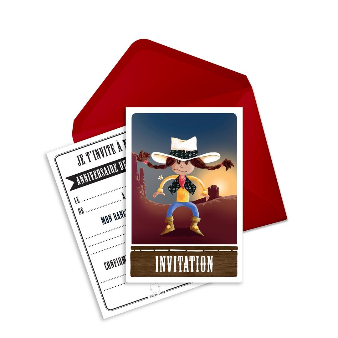 6 Miniz Invit\' et enveloppes - Invitation anniversaire Calamity la cow-boy
