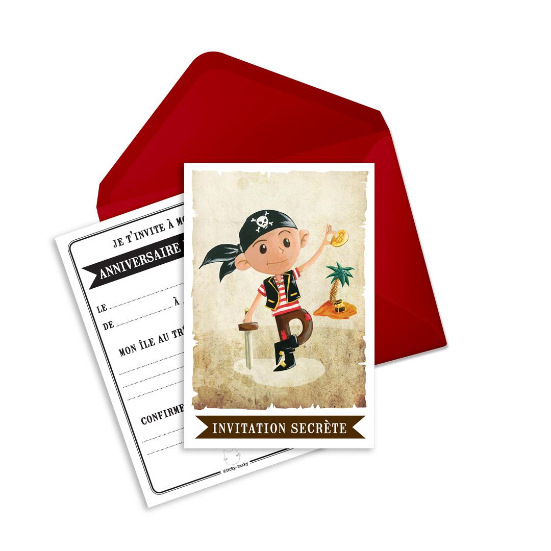 6 Miniz Invit\' et enveloppes - Invitation anniversaire Jack le pirate
