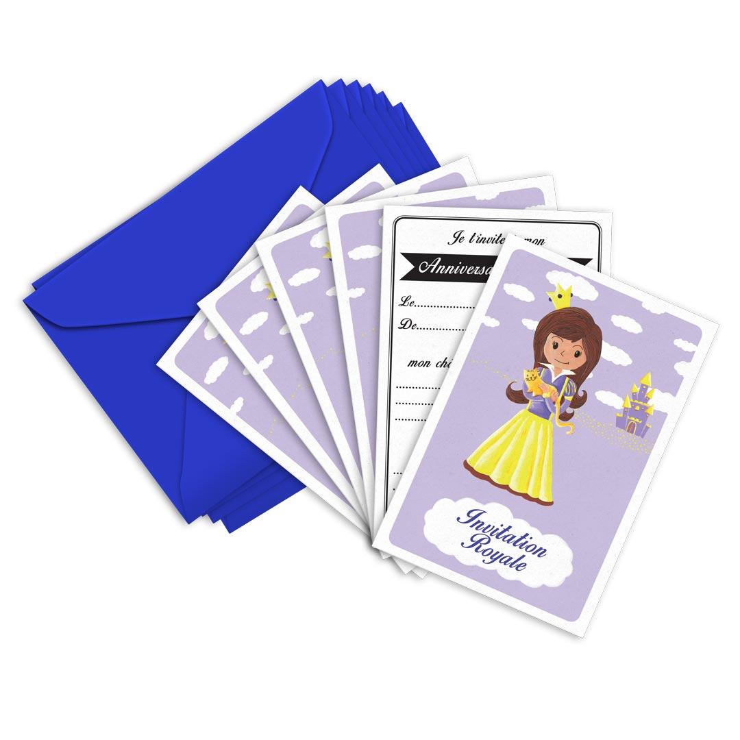 6 Miniz Invit\' et enveloppes - Invitation anniversaire Mauve la princesse