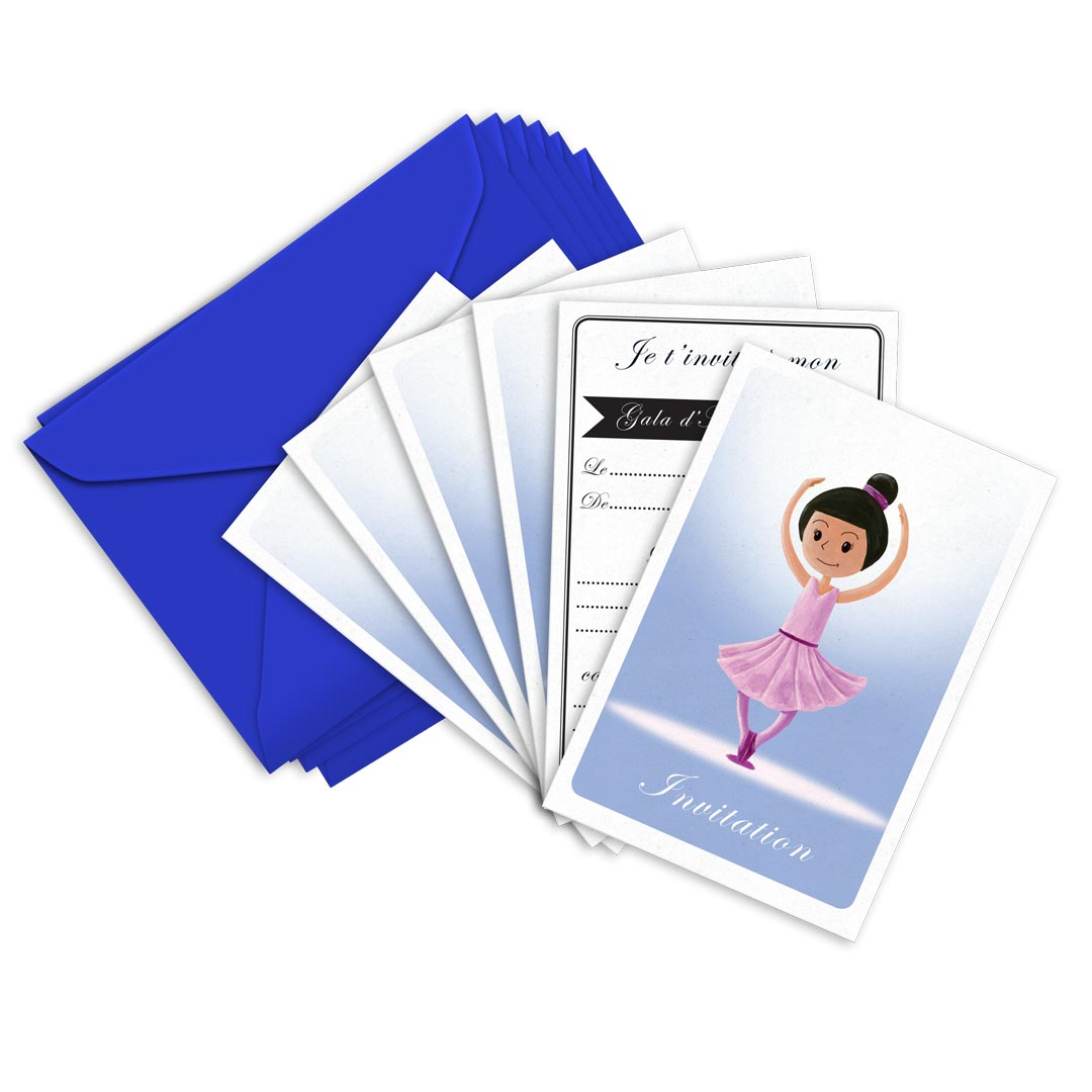 6 Miniz Invit\' et enveloppes - Invitation anniversaire Stars la danseuse