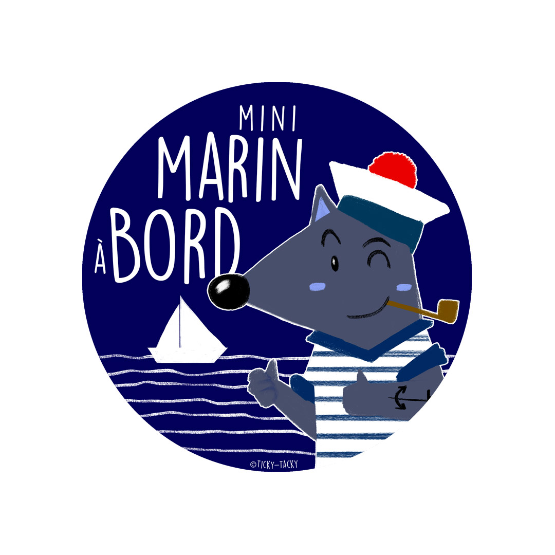 Stickers voiture – Mini Marin à bord