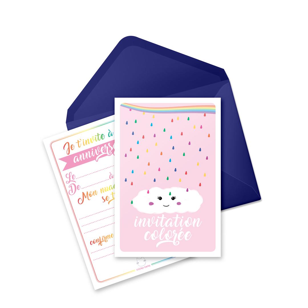 6 Miniz Invit\' et enveloppes - Invitation anniversaire Rainbow