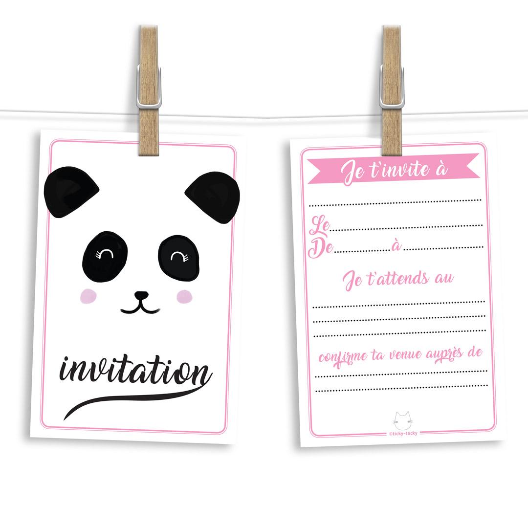 6 Choubiz Invit\' et enveloppes - Invitation anniversaire Pandala le panda