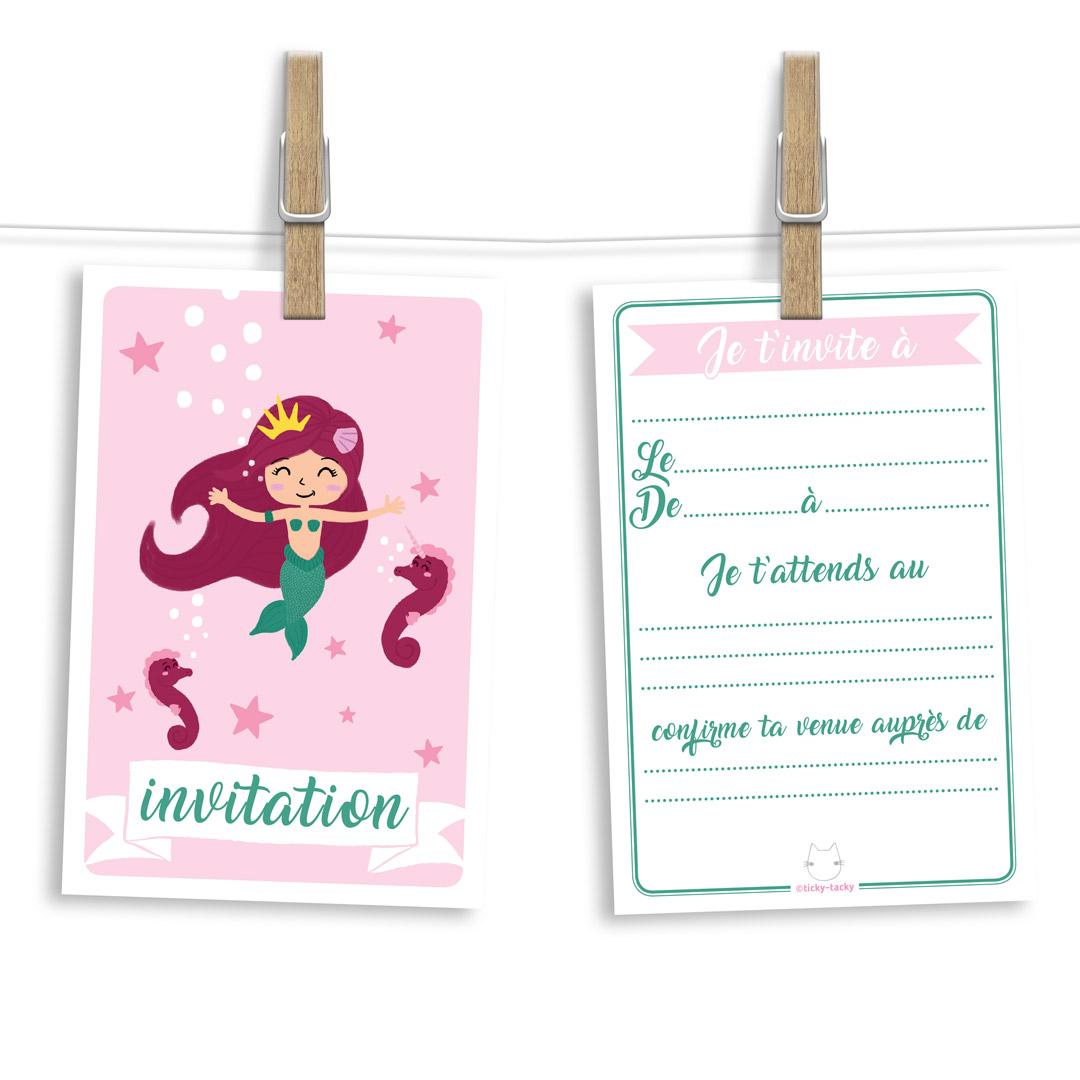 Invitation anniversaire | Cartes et enveloppes par 6 | Thème Princesse Sirène