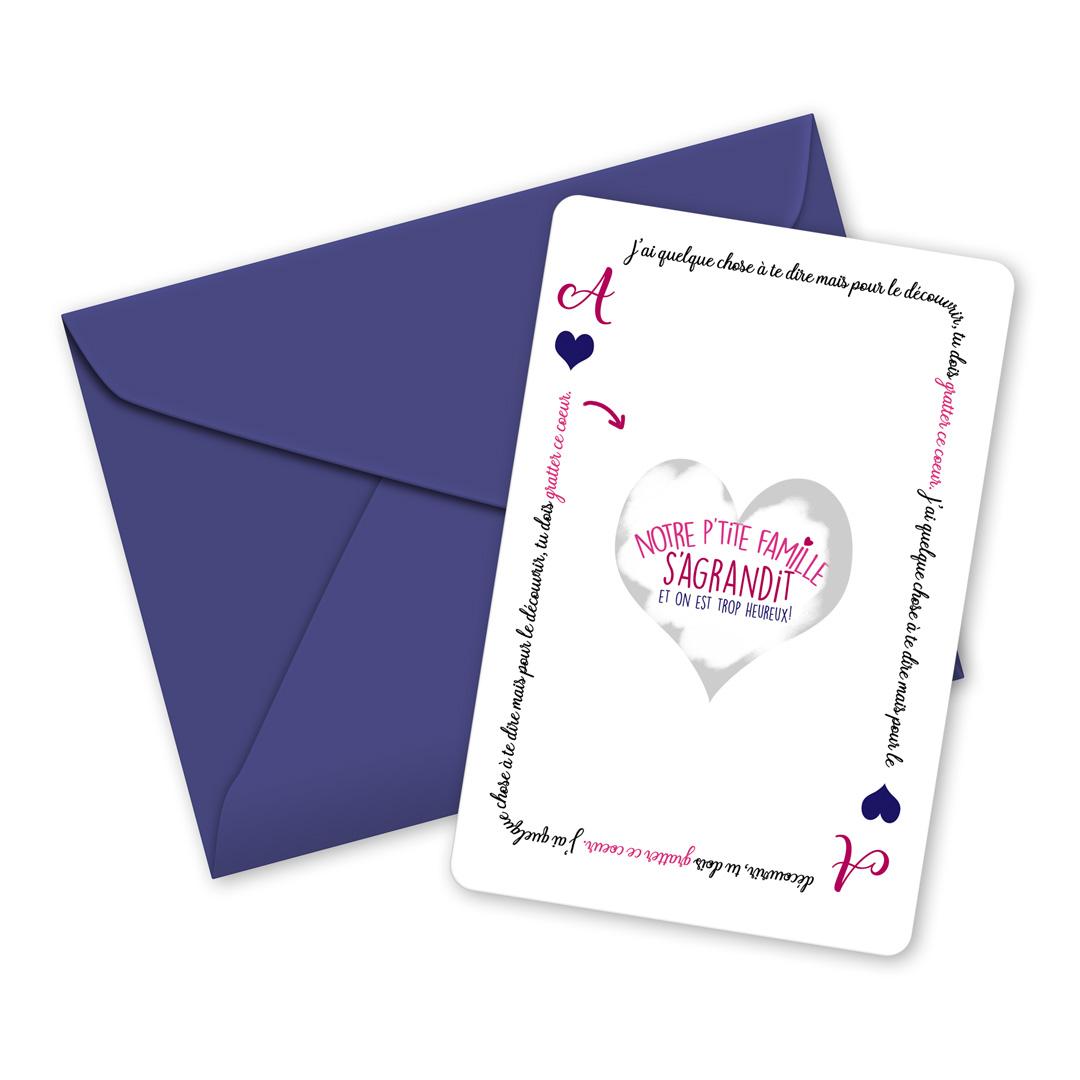 Carte à gratter Notre famille s\'agrandit - annonce grossesse, naissance - famille et amis