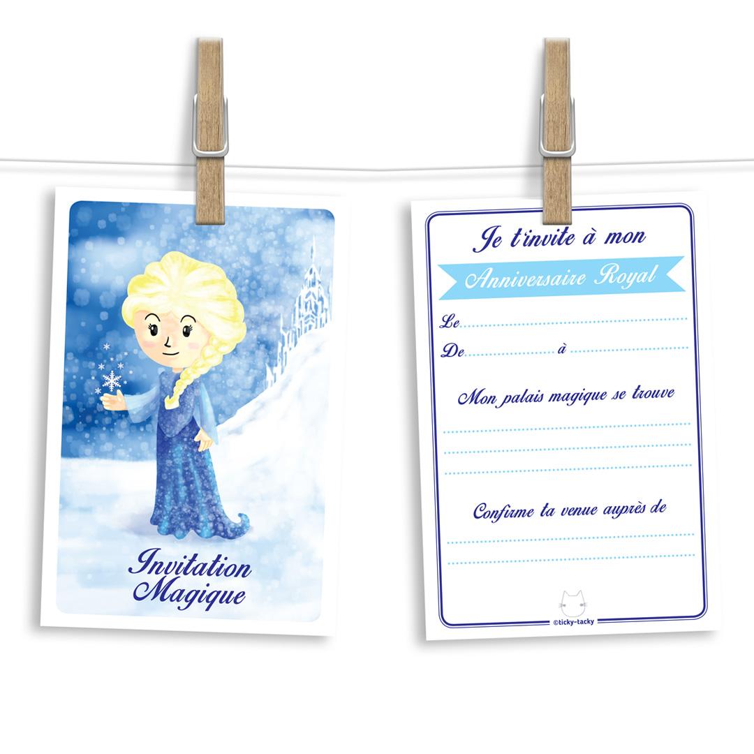 Invitation anniversaire | Cartes et enveloppes par 6 | Thème Elsa - Reine des Neiges