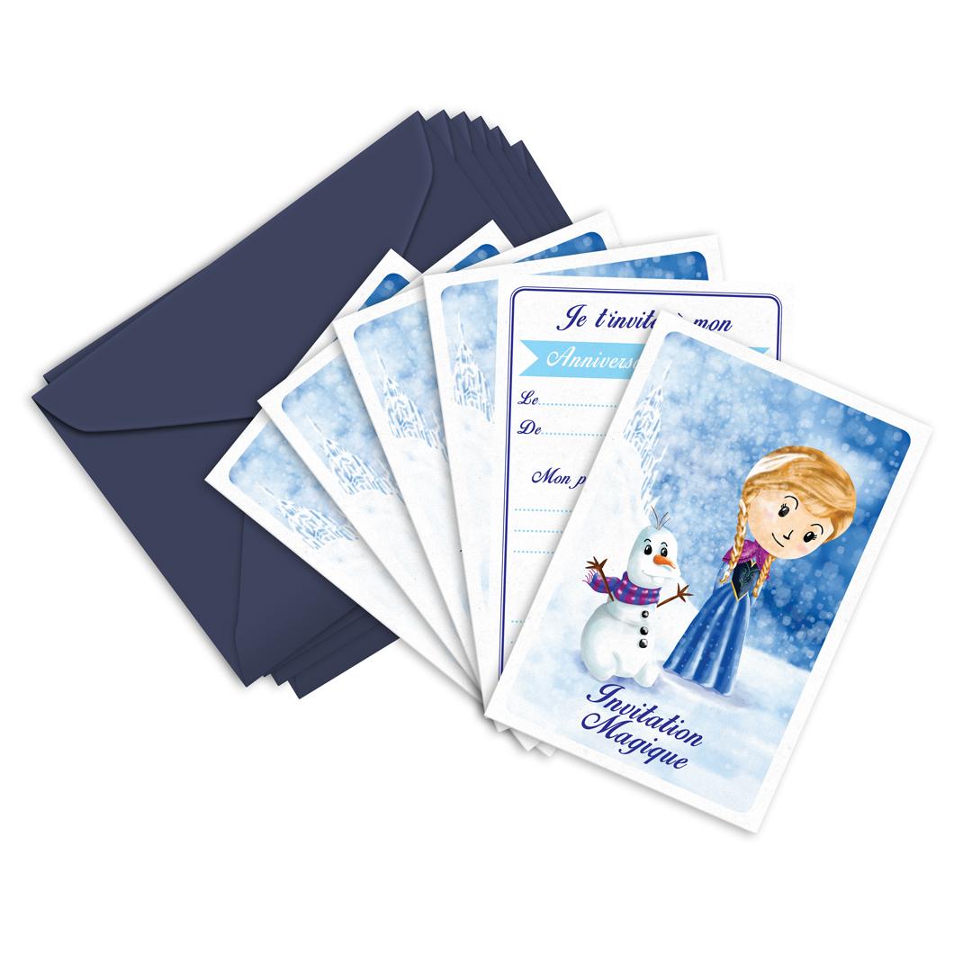 6 Miniz Invit\' et enveloppes - Invitation anniversaire Nanou inspirée d\'Anna la Reine des Neiges
