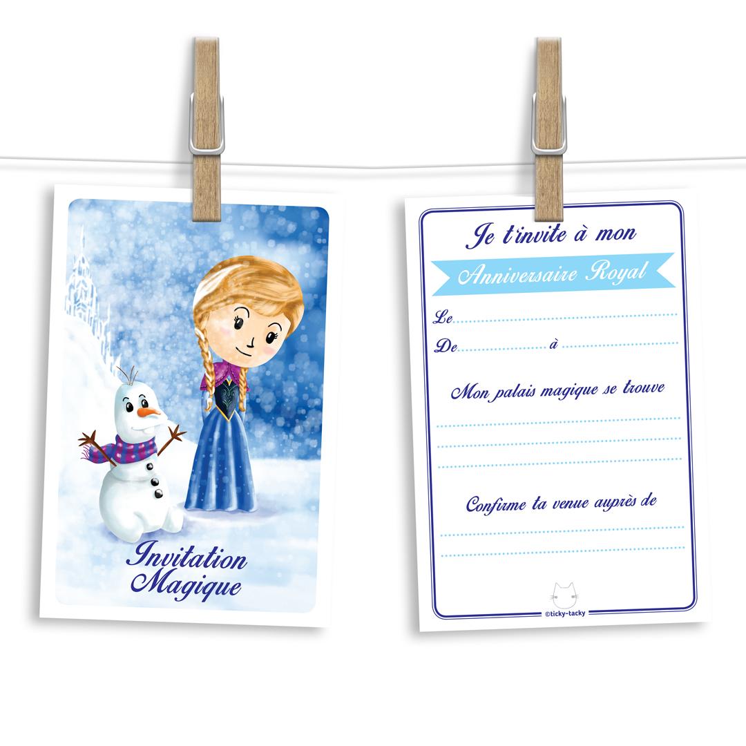Invitation anniversaire | Cartes et enveloppes par 6 | Thème Anna - Reine des Neiges